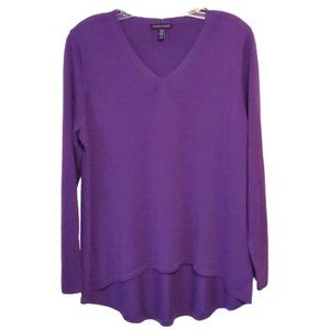 Eileen Fisher Purple V-neck Merino Wool Sweater M